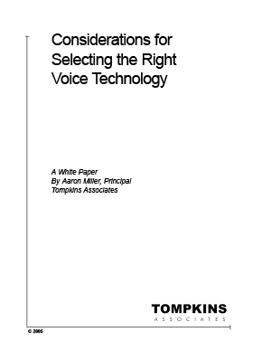 White Paper - Tompkins - Considerations for Voice