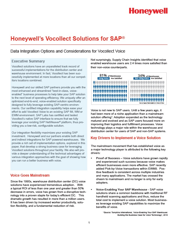 White Paper - Vocollect Solutions for SAP - A Honeywell White Paper
